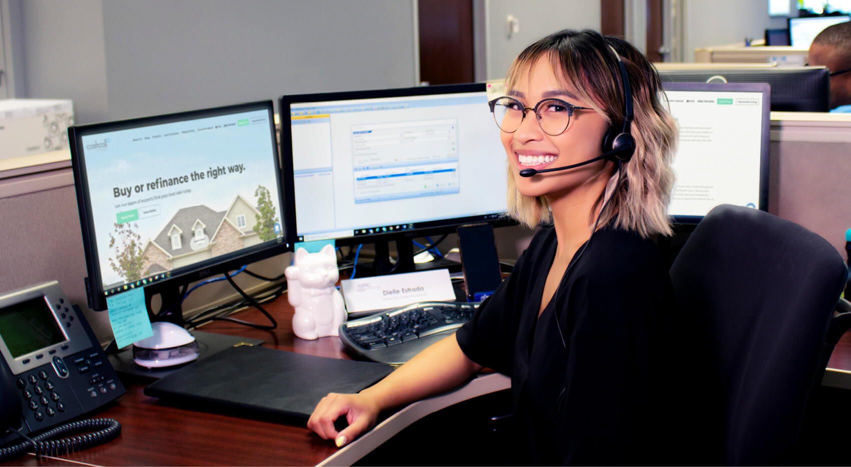 Impac Cashcall customer service rep with headset
